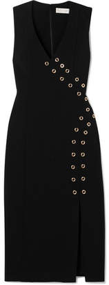 Rebecca Vallance Adriatic Eyelet-embellished Crepe Midi Dress - Black