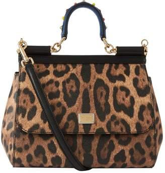 Dolce & Gabbana Medium Leather Leopard Spot Sicily Bag