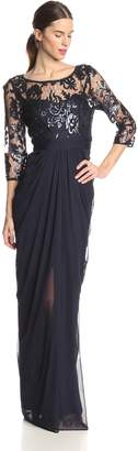 Adrianna Papell Women's 3/4 Sleeve Illusion Embroidered Sequin Bodice Gown