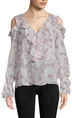 BCBGMAXAZRIA Floral Cold-Shoulder Blouse