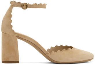 Chloé Beige Suede Lauren Ankle Strap Heels