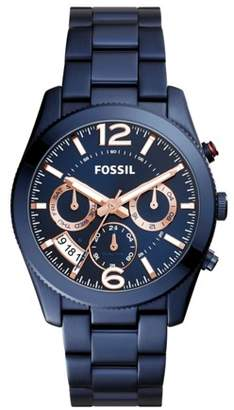 Fossil Perfect Boyfriend Multifunction Blue Stainless Steel Watch Jewelry