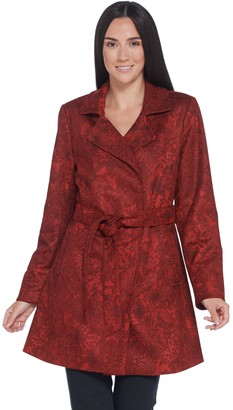 Dennis Basso Printed Faux Suede Belted Trench Coat
