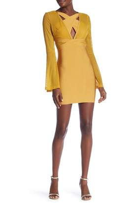 Wow Couture Long Bell Sleeve Bandage Dress