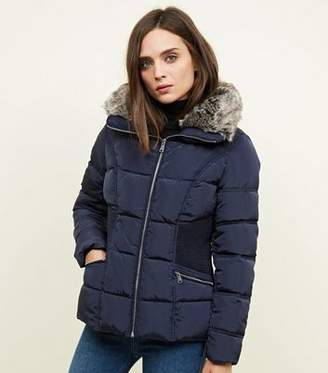 New Look Navy Faux-Fur Collar Cinched Waist Puffer Jacket