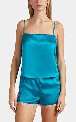 Fleur Du Mal Women's Lace-Trimmed Silk Satin Camisole - Turquoise