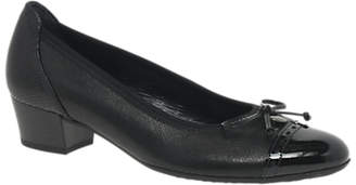 Gabor Islay Wide Fit Block Heeled Court Shoes, Black Leather