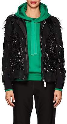 Sacai Women's Sequin-Embellished Ruffled Chiffon Bomber Jacket