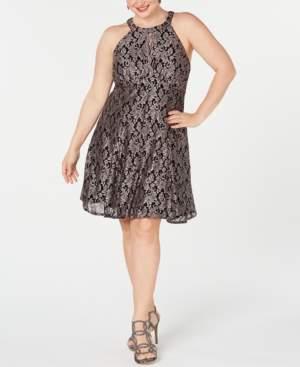 Night Way Nightway Plus Size Lace & Glitter A-Line Dress