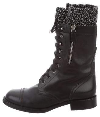 Chanel CC Lace-Up Boots