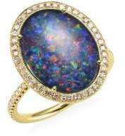 Meira T 14K Yellow Gold and Diamond Oval Opal Ring