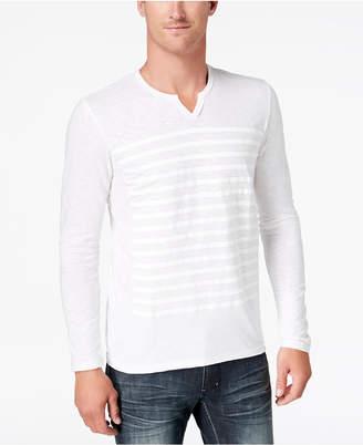 INC International Concepts I.n.c. Men's Split-Neck Striped T-Shirt, Created for Macy's