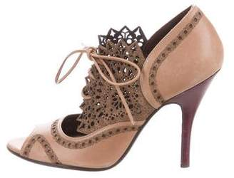 Salvatore Ferragamo Laser Cut Peep-Toe Booties