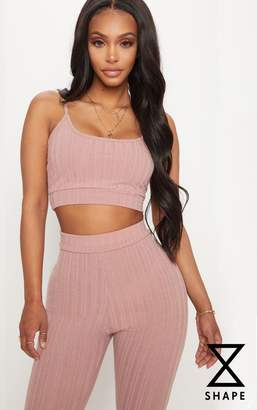 PrettyLittleThing Shape Black Strappy Ribbed Crop Top