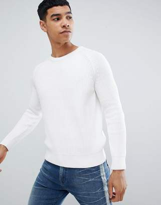 Bershka Knitted Sweater In White
