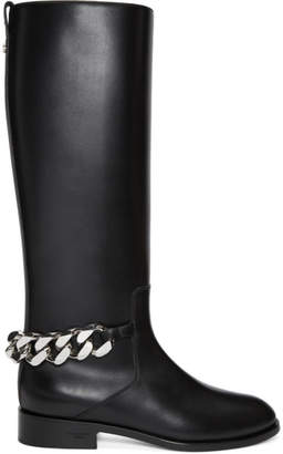 Givenchy Black Chain Knee-High Boots