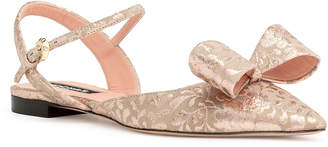 Rochas Pointy brocade bow flats