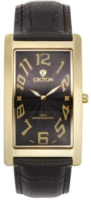 "Croton Men's ""Aristocrat"" Goldtone Curved Rectangular Stainless Bracelet Watch with Black Dial"