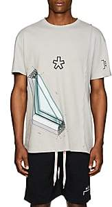A-Cold-Wall* Men's Windowpane-Graphic Cotton T-Shirt - Light Gray