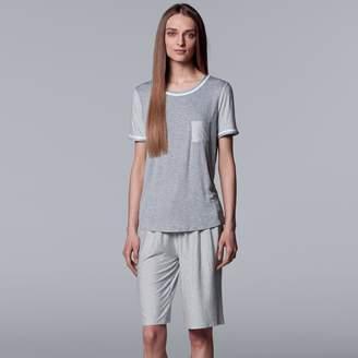 Vera Wang Women's Simply Vera Tee & Bermuda Shorts Pajama Set
