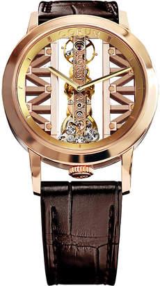 Corum GG55R Golden Bridge 18ct gold and leather watch