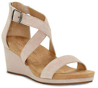 Lucky Brand Crisscross Suede Wedge Sandals