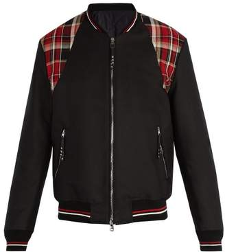 Alexander McQueen Check Panel Cotton Canvas Bomber Jacket - Mens - Black Multi