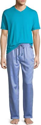 Robert Graham Fusion V-Neck Shirt & Striped Pants Pajama Set