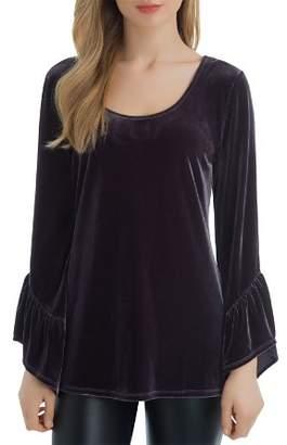 Lysse Remy Bell-Sleeve Velvet Tunic Top