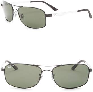 Ray-Ban 60mm Rectangle Polarized Sunglasses