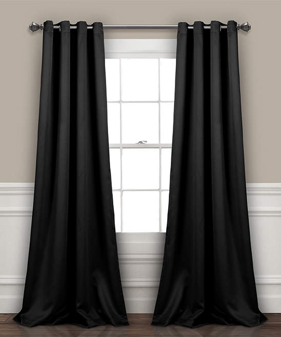 Black Insulated Blackout Curtain Panel - Set of Two