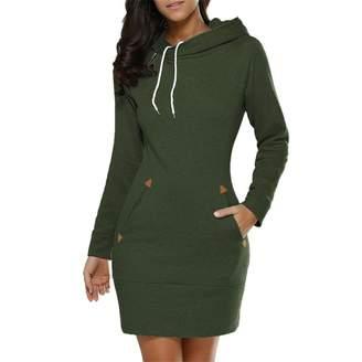 Honghu Women Casual Long Sleeve Crew Neck Hooded Sweater Slim Leisure Dresses Size L