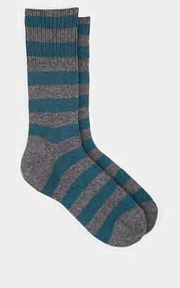 Barneys New York Men's Thick-Striped Cotton-Blend Mid-Calf Socks - Gray