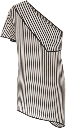 Diane von Furstenberg Striped One Shoulder Blouse $248 thestylecure.com