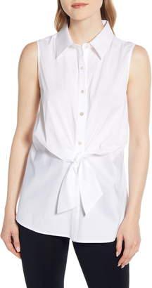 Ming Wang Tie Sleeveless Shirt