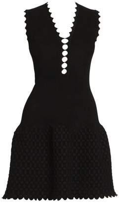 Alaia Peek-A-Boo Croisee Sleeveless Knit A-Line Dress