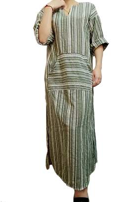 Zilcremo Womens Cotton Linen Dress Stripes Long Sleeve Maxi Tunic Dresses XL
