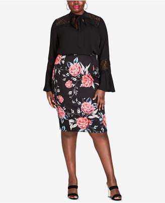 City Chic Trendy Plus Size Floral-Print Pencil Skirt