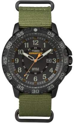Timex Men's Expedition Gallatin Watch, Green Nylon Slip-Thru Strap