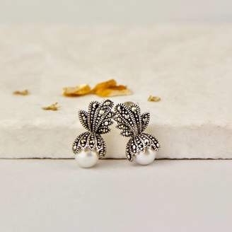 7ee7c1f14 Gaamaa Freshwater Pearl And Marcasite Crown Stud Earrings
