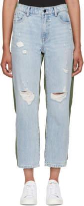 Alexander Wang Blue and Green Slack Mix Jeans