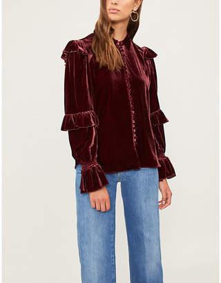 Frame Ruffled velvet blouse