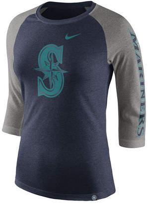 Nike Women's Seattle Mariners Tri-Blend Raglan T-Shirt