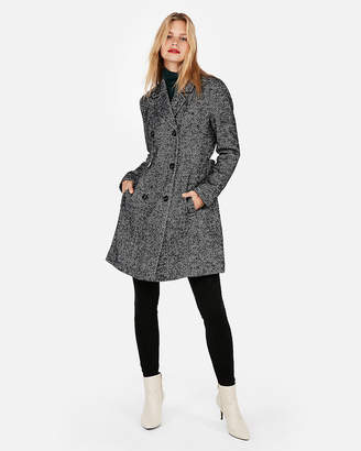 Express Petite Belted Wool-Blend Tweed Trench Coat
