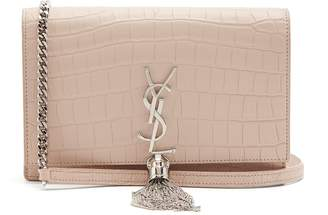 Saint Laurent - Kate Small Crocodile Effect Leather Cross Body Bag - Womens - Light Pink