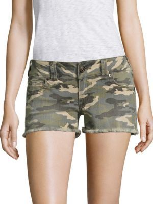 True Religion Kiera Camo Denim Shorts $149 thestylecure.com