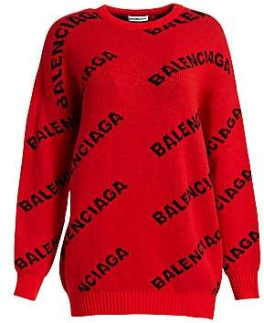 23999107dd Balenciaga Women s Wool-Blend Logo Sweater