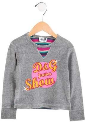 Dolce & Gabbana Girls' Velvet Long Sleeve Top