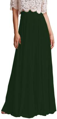 Omleas Omelas Women Long Floor Length Chiffon High Waist Skirt Maxi Bridesmaid Pary Dress (, XL)