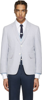 Thom Browne Blue Classic Seersucker Blazer $1,500 thestylecure.com